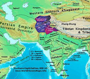 The Hephthalite Empire (white huns) (in the first half of the 6th century), - the territories of present-day Afghanistan, Turkmenistan, Uzbekistan, Tajikistan, Kyrgyzstan, Kazakhstan, Pakistan, India and China. Its stronghold was Tokharistan in the Hindu Kush mountains, present-day northeastern Afghanistan. By 479, the Hephthalites had conquered Sogdiana and driven the Kidarites westwards, and by 493 they had captured areas of present-day northwestern China (Dzungaria and the Tarim Basin).