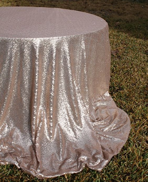 Champagne sequin table cloth 108 SALE FREE SHIPPING by GlitzyDecor