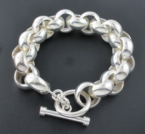16mm Chunky Circle Link Sterling Silver Men's Chain Bracelet Heavy Thick Biker #Chain