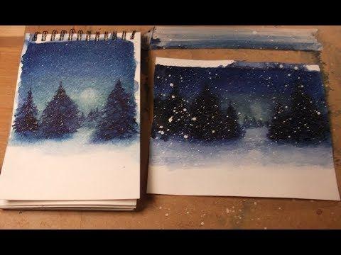 Nuit D Hiver Et Pleine Lune Peinture A L Aquarelle Winter Night