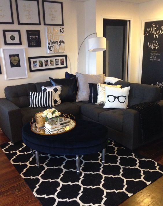 Mini living room re-do! Classic black, white, and gold with pops of navy. Gallery wall & large velvet tufted ottoman add some cute finishes. So happy with all we did on a $500 budget. [Decor from Homesense, Urban Barn, and Target]: