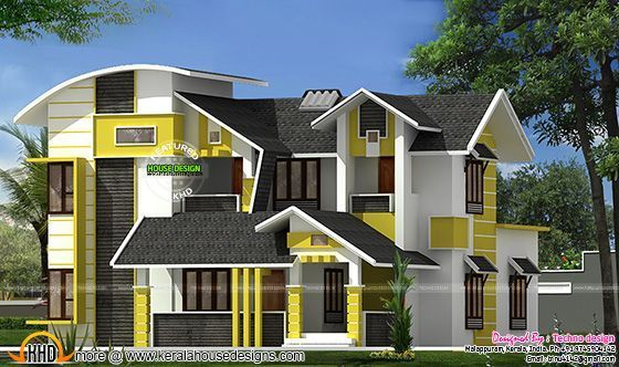Beautiful Contemporary Mix Roof House Beautiful Contemporary House Mix Roof In 2020 Kerala House Design Modern House Design Unique House Design