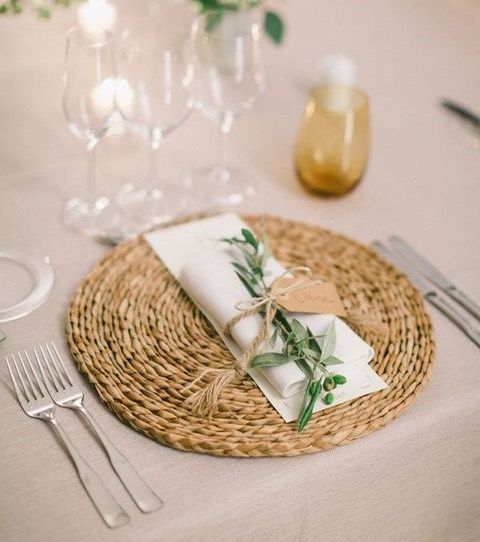 Rattan Placemat Greenery Wedding Tableware With Twine And Tag Rustic Weddings Spring Weddings Rustic Table Setting Wedding Placemats Wedding Table Settings