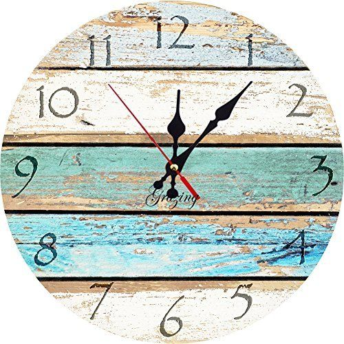 """Laundry room colors   Grazing 12"""" Vintage Arabic Numerals ,Shabby Beach, Weathered Beachy Boards Design ,Ocean Colors Old Paint Boards Printed Image, Rustic Mediterranean Style Wooden Decorative Round Wall Clock"""
