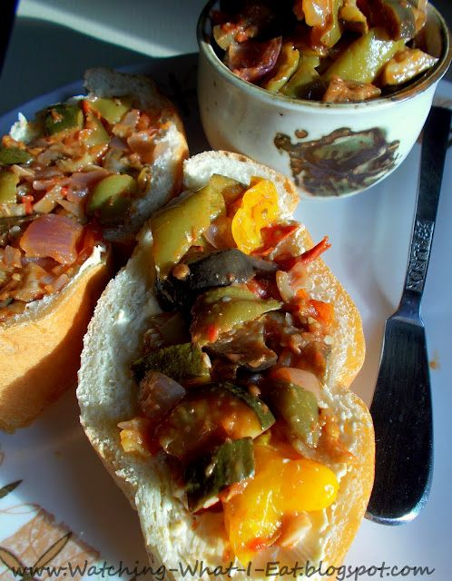 oven roasted ratatouille with balsamic glaze ~ served on french bread as an appetizer