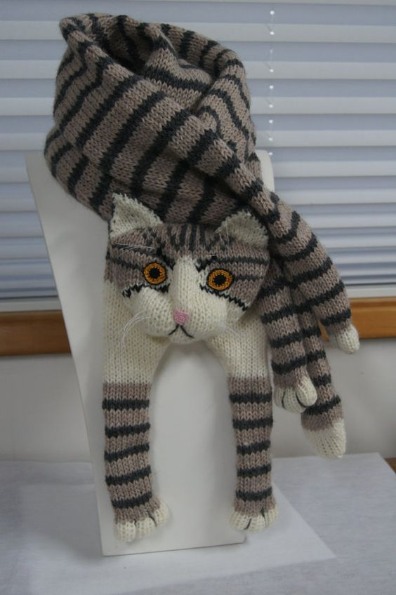 Tabby Gray Cat Scarf Knitting Scarf Gray Scarf Cowl by Eastalace