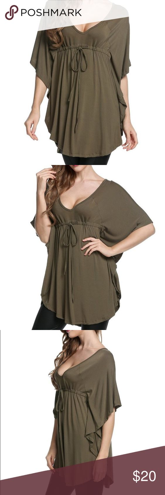 New Plunge V Neck Batwing Drawstring Waist Tunic Green, Batwing Sleeve, V-neck, Drawstring Empire Waist. Material: 97% Polyester and 3% Spandex. Measurements: XL(16) ---Raglan Sleeve 14.4 inch ---Chest 38.2-44.5 inch ---Middle Back Length 32.4 inch Tops Tunics