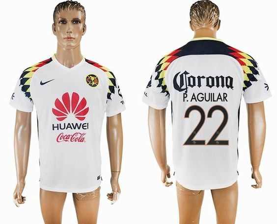 2017 2018 America Club 22 P Aguilar Thailand Version White Soccer Jersey Away Soccer Mens Tops Polo Ralph Lauren