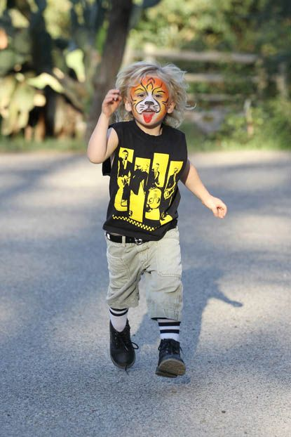 RAWR... Little Zuma Rossdale looked super cute after getting his face painted on March 4, 2012 at his local Los Angeles park.