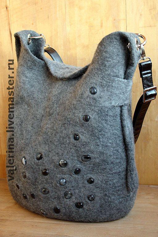 """Купить Сумка """"МЕЛОДИЯ"""" - валяная сумка, мокрое валяние, серый цвет, серый агат"""