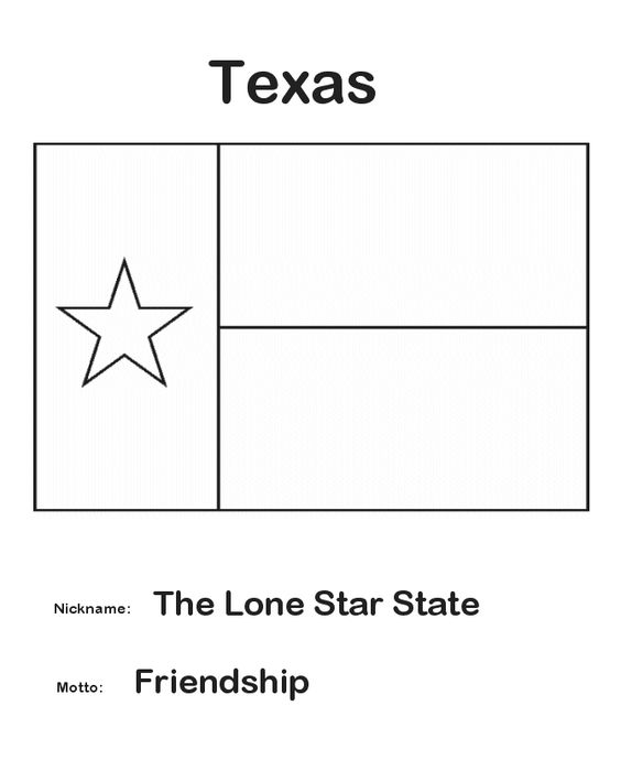 texas state flag coloring page