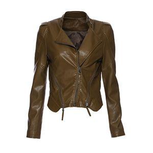 Strip Simple PU Jacket-Brown | pariscoming