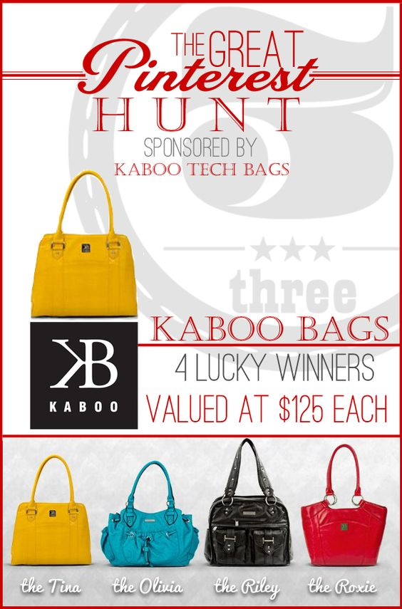 Kaboo Bag Giveaway with 4 Winners! #TheGreatPinterestHunt