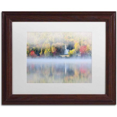 Trademark Fine Art 'Little Church Fog' Canvas Art by Michael Blanchette Photography, White Matte, Wood Frame, Size: 11 x 14, Assorted