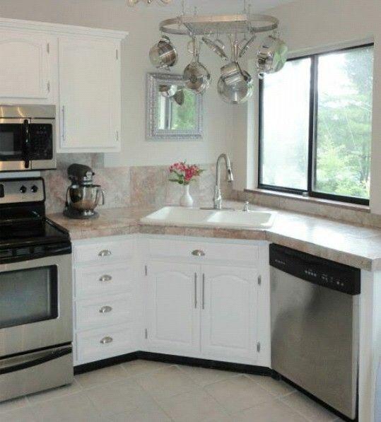 Fregadero en esquina cocinas pinterest for Muebles de cocina para montar