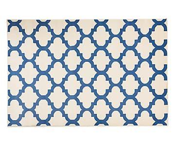 Alfombra en fibra sintética Lines, azul y blanco - 165x235 cm