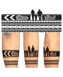 Voorkoms Mom Dad Hand Band Tribal For Men And Women Temporary Tattoo In 2020 Mom Dad Tattoo Designs Band Tattoo Designs Dad Tattoos
