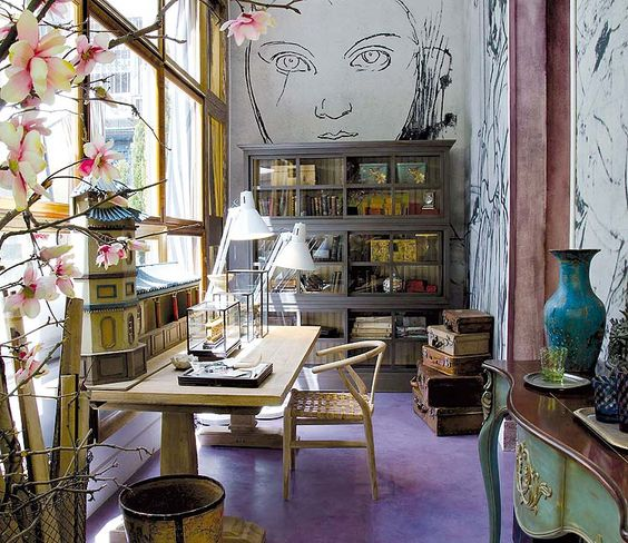 Artsy airy bright office - love the purple floor