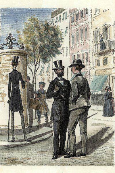 Die Zeitschriftenillustration entstand um das Jahr 1885 und zeigt eine Straßenszene. Die Litfaßsäule auf einem zentralen Platz dient für die Passanten als Werbe- Und Informationsträger.