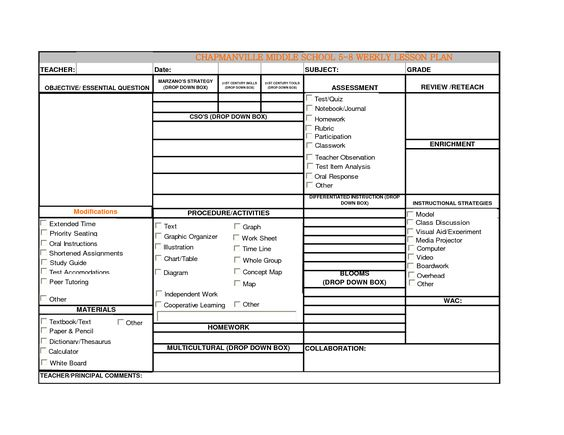 Class Lesson Plan Template  BesikEightyCo