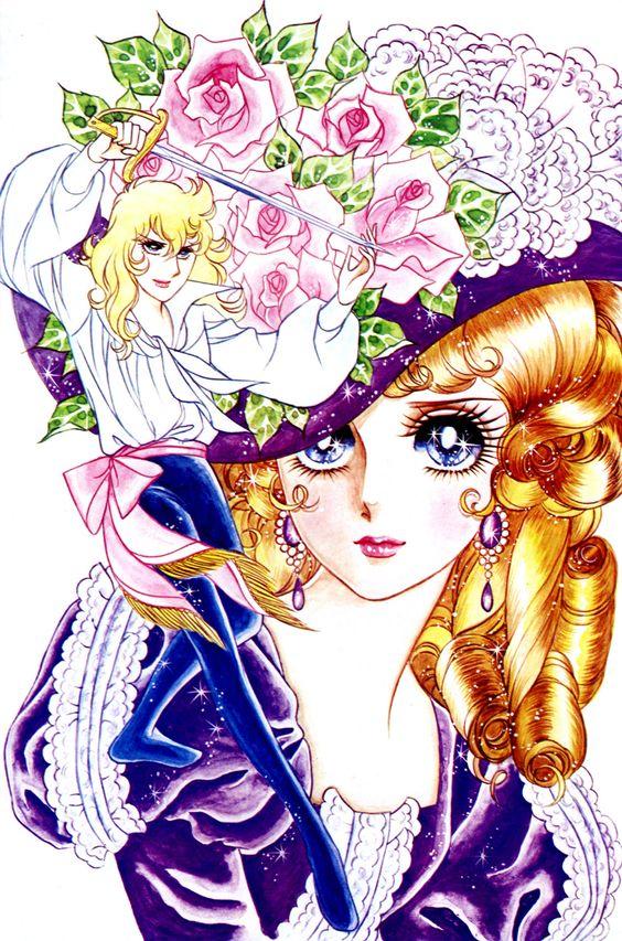 バラで飾られた大きな帽子を被ったマリー・アントワネットとオスカルのベルサイユのばらの壁紙