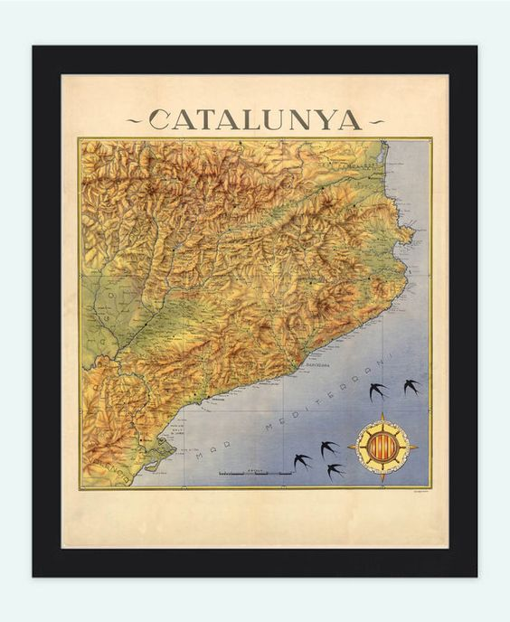 Old Map of Cataluña Catalunya 1940 Barcelona - VINTAGE MAPS AND PRINTS