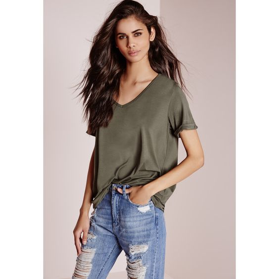 Missguided Tall Boyfriend V Neck T Shirt (18 CAD) ❤ liked on Polyvore featuring tops, t-shirts, khaki, loose tee, v-neck tee, v neck t shirts, vneck t shirts and boyfriend t shirt