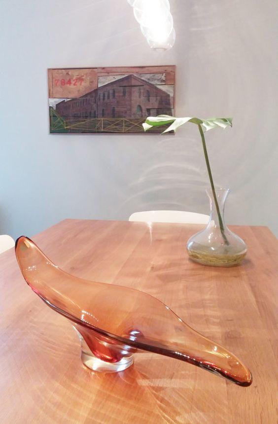 Mid Century Modern Murano Art Glass Grand Centre par HighlightArt
