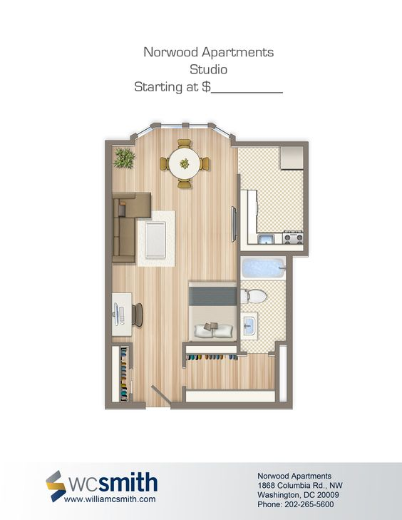 Studio efficiency floor plan the norwood in northwest for Efficiency floor plans