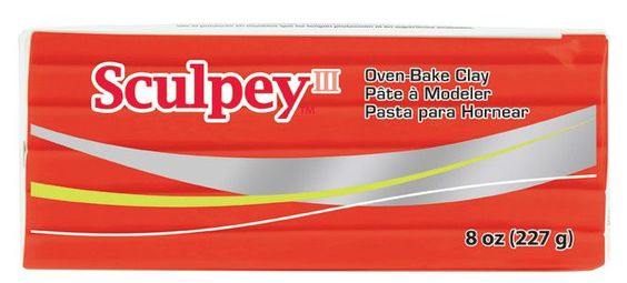 Sculpey® III, Red Hot Red, 8 ounce Block, S308 583