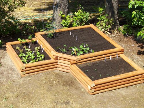 Raised bed garden - good way to make use of a corner