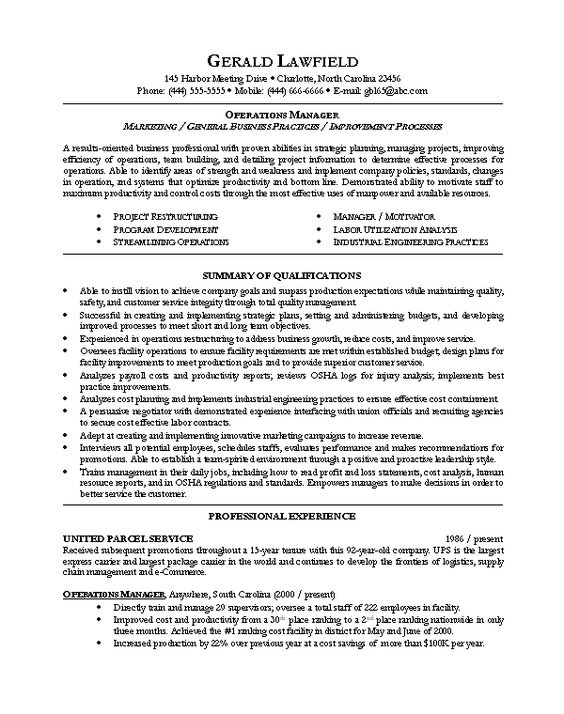 Sample resume for Operations Manager resumes Pinterest - operations manager resumes