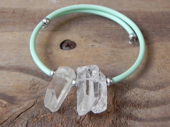 Raw crystal cube bangle bracelet memory wire rubber by AdrianaSoto, $30.00