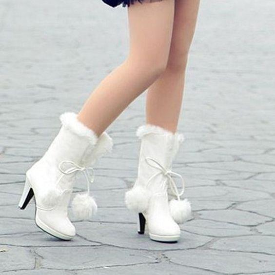 size34-39 women's Winter white/pink/black platform high-heel ...