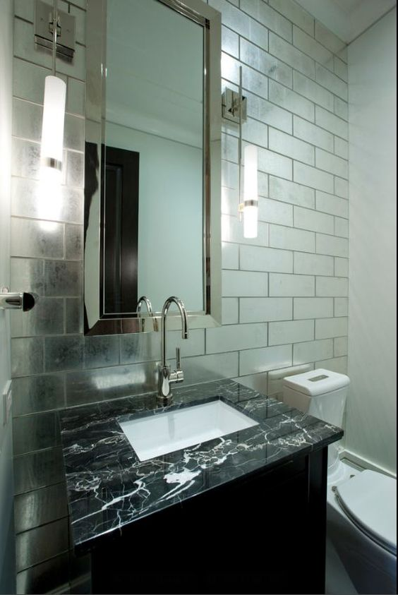 Antiques Mirror Bathroom And Mirrored Subway Tiles On