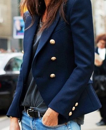 The perfect navy blazer plus a gray t-shirt equals weekend uniform. find more…: