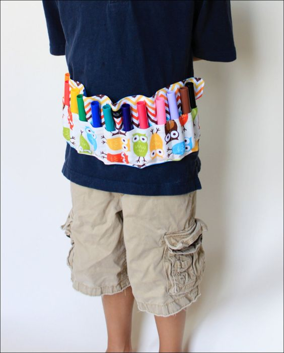 Sash Stash-Owls in Bermuda Wearable Marker Organizer-16 Crayola Crayons Included-As Seen on the TODAY SHOW. $19.00, via Etsy.