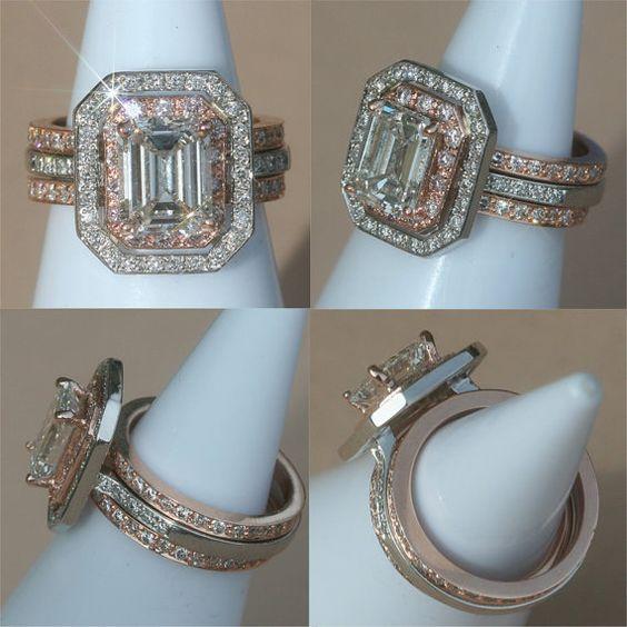 Double Gold Platinum: Rose Gold And Platinum Engagement Ring, Emerald Cut