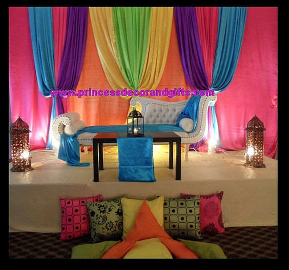 Mehndi Decoration With Dupatta : Henna decor nikkah stage purple yellow aqua