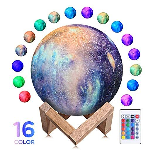 Moon Lamp 3d Moon Light 16 Color Dimmable With Stand Remote Touch Control And Usb Rechargeable Best Gifts For Moon Light Lamp Night Light Kids Galaxy Lights