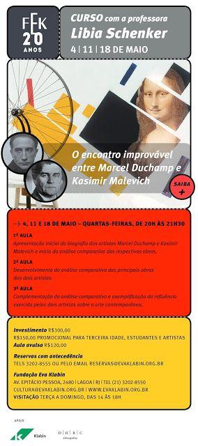 """♥ Fundação Eva Klabin oferece curso """"Encontro improvável entre Marcel Duchamp e Kasimir Malevich"""" ♥  http://paulabarrozo.blogspot.com.br/2016/05/fundacao-eva-klabin-oferece-curso.html"""