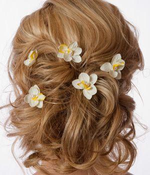 Brilliant Beach Wedding Hairstyles Beach Wedding Updo Flower Hair Pins Hairstyles For Men Maxibearus