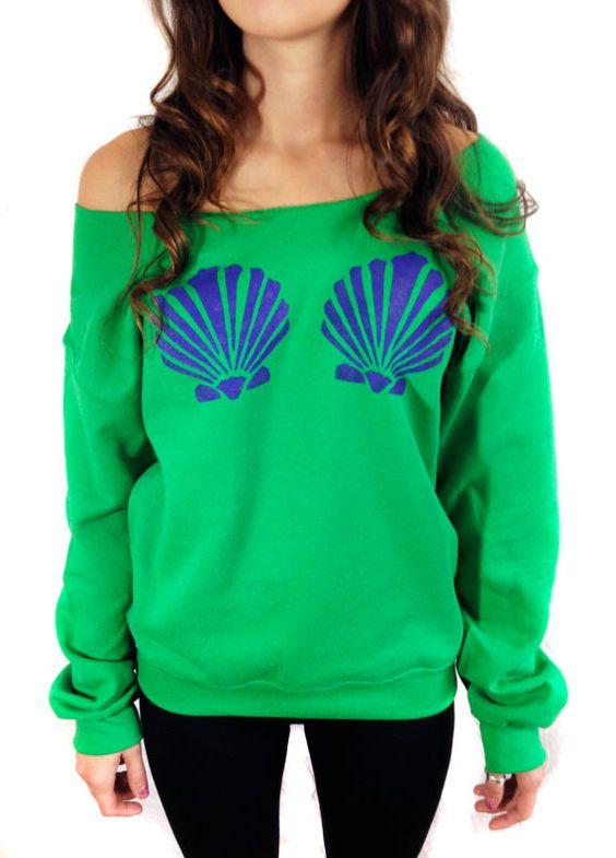 Mermaid Top Little Mermaid Sweatshirt Off The Shoulder Women's Clothing Hipster Tumblr Style Fashion