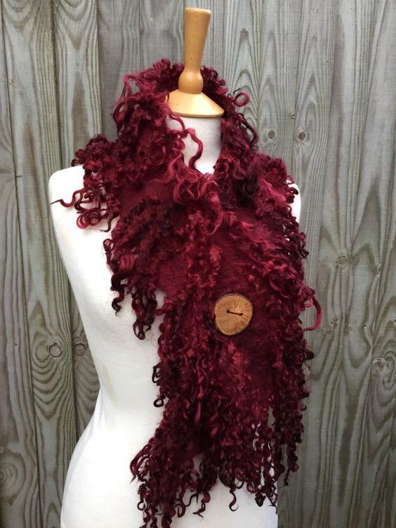 Custom made for you- Red  ox blood wine scarf- Rustic Wild Woodland Scarf- boho scarf- lagenlook-winter scarf- fairy Elven- felt scarf