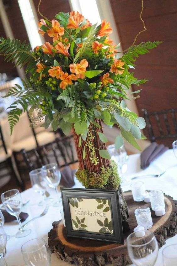 D Coration Florale Pour Table Id Es Mariages En Automne Mariage Orange Et D Coration