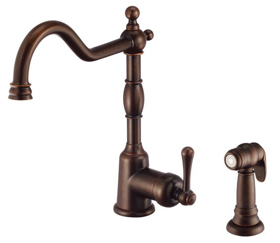Opulence Single Handle Deck Mounted Kitchen Faucet with Side Spray