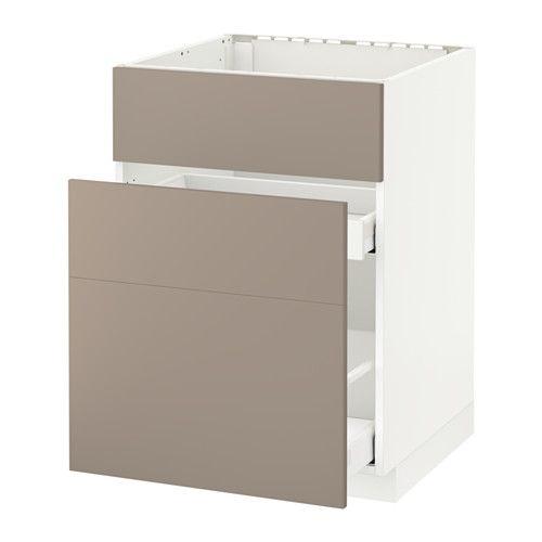 METOD   MAXIMERA Élt bas pr évier+3faces 2tiroirs - blanc, 60x60 - küchen unterschrank schubladen