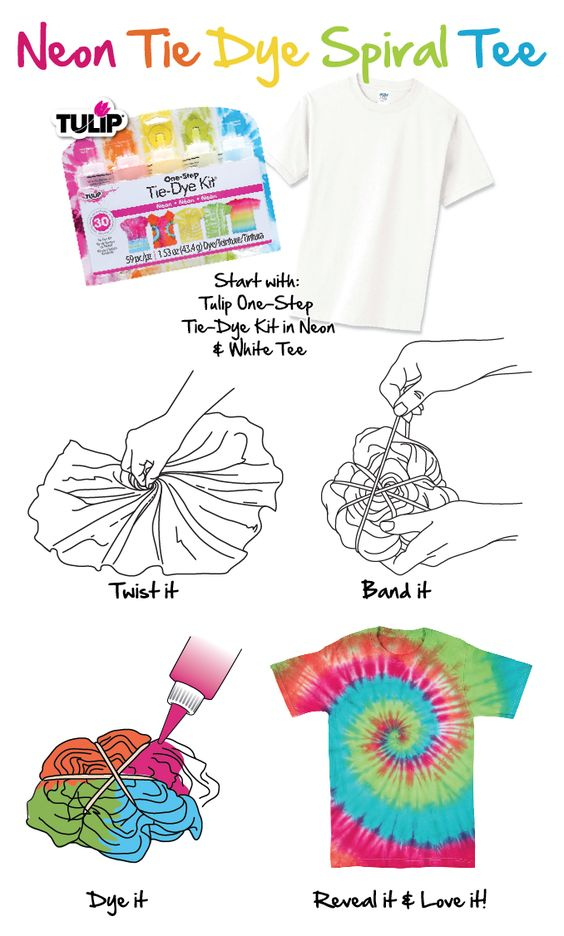 How to neon tie dye spiral tee tie dye diy crafts for Making a tie dye shirt