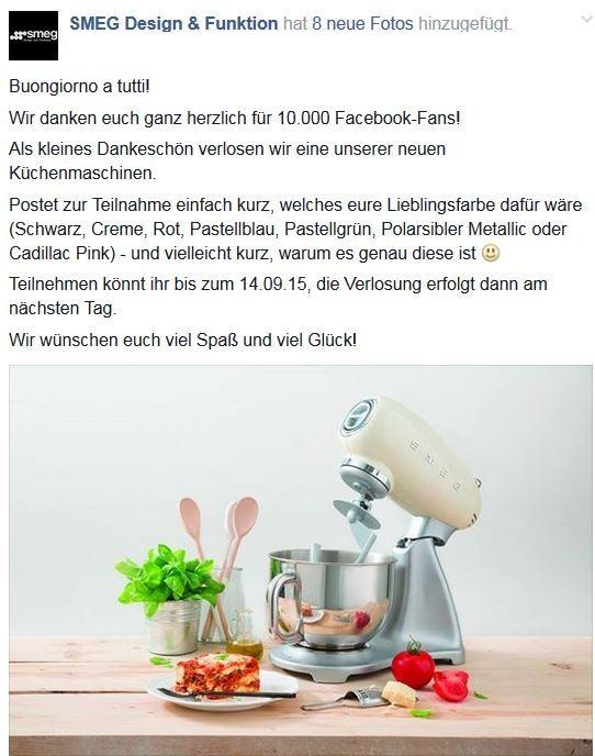 Jetzt Küchenmaschine von SMEG gewinnen :-)