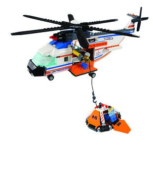 Lego City Coast Guard Helicopter (7738) Boaters are lost at sea! Send out the Coast Guard helicopter! When you spot them, lower the self-winding winch, hoist the emergency life raft, and carry it back to shore. Great construction and action http://www.comparestoreprices.co.uk/childs-toys/lego-city-coast-guard-helicopter-7738-.asp